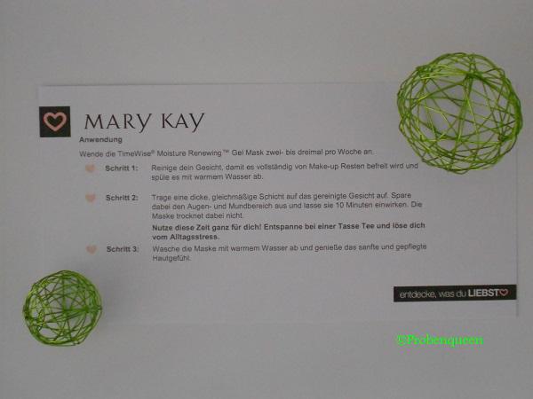 TimeWise Moisture Renewing Gel Mask von Mary Kay Anwendungshinweis Probenqueen