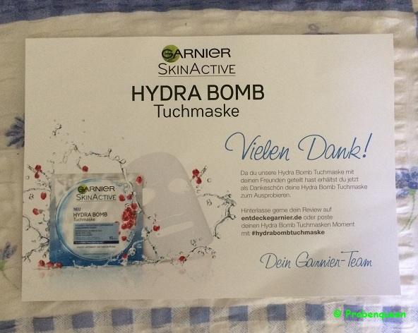 Garnier SkinActive Hydra Bomb Tuchmaske Anschreiben Probenqueen
