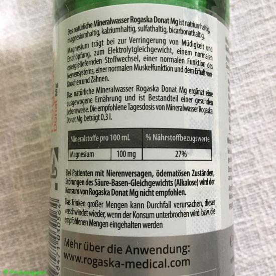 Rogaska Donat Mg Mineralwasser -etikett-rueckseite-probenqueen