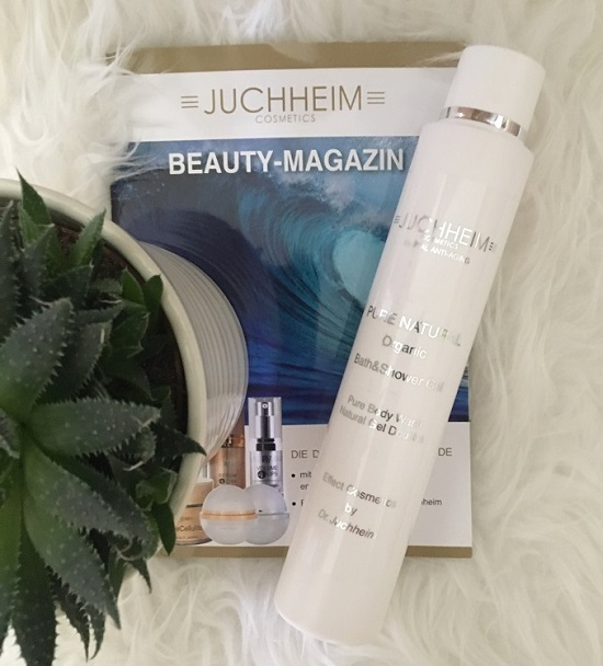 Pure Natural Organic Bath and Shower Gel von Juchheim Cosmetics Beauty-Magazin Duschgelflasche Probenqueen